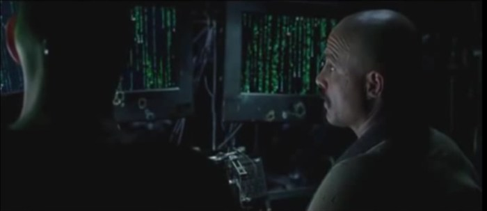 Cypher and Neo looking Matrix Code - Screenwriting is like playing god