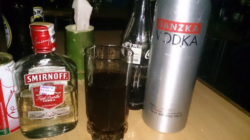 These were my official vodka drinks that night... Smirnoff and Danzka