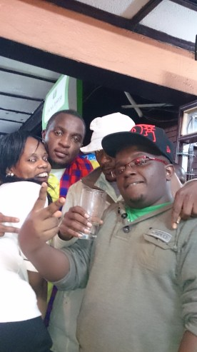 My buddy Meg, my official club chaffeur Marto, Nesh and I during the party at Tavern