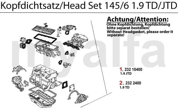 Alfa Romeo 145/6 joints moteur & pièces moteur & Alfa