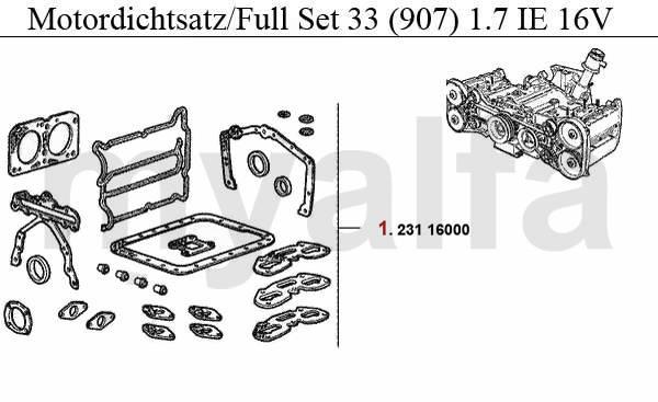 Alfa Romeo 33 (905/7) joints moteur & pièces moteur & Alfa