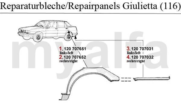 Alfa Romeo ALFA ROMEO GIULIETTA (116) WHEELARCH/ENDPANEL