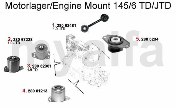 Alfa Romeo 145/6 supports moteur & pièces moteur & Alfa