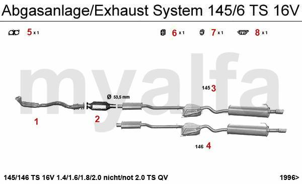 Alfa Romeo 145/6 échappement TS 16V 96>