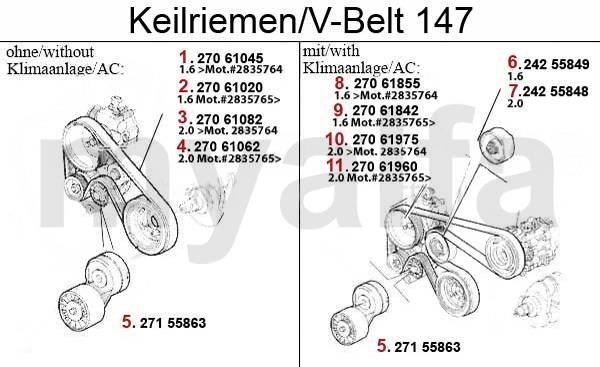 Alfa Romeo 147 Courroies TS 16V 147 Courroies TS 16V