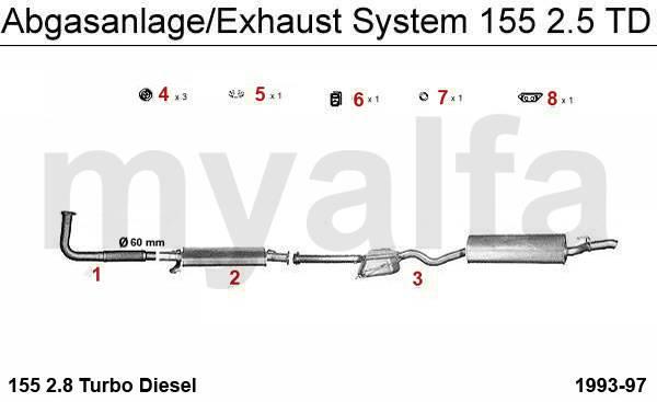 Alfa Romeo 155 échappement 2.5 TD 155 échappement 2.5 TD