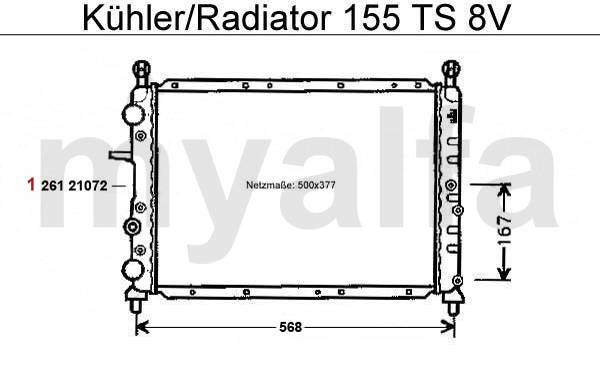 Alfa Romeo 155 circuit refoidissement TS 8V radiateur
