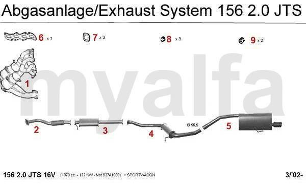 Alfa Romeo 156 échappement 2.0 JTS