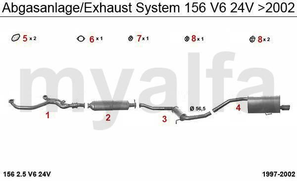 Alfa Romeo 156 échappement 2.5 V6 24V >02