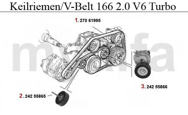 Alfa Romeo 166 Courroies et tendeurs 2.0 V6 Turbo