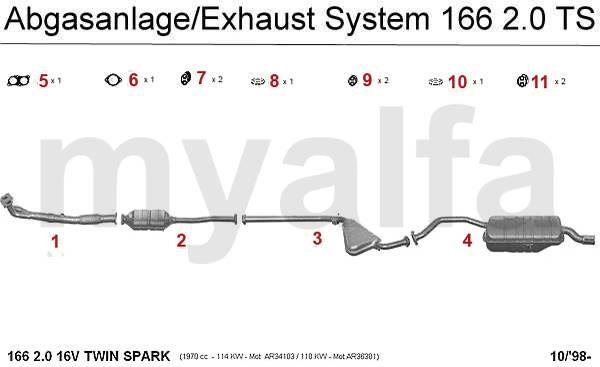 Alfa Romeo 166 EXHAUST SYTEM 2.0 TS