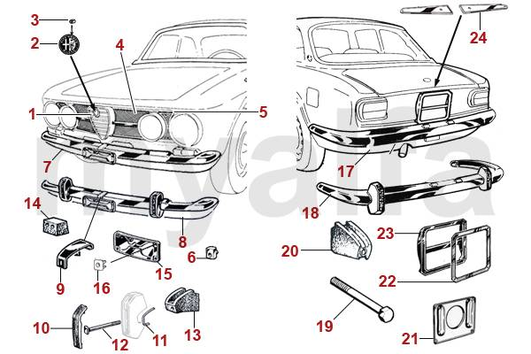 Alfa Romeo GT Bertone pièces chromées 1967-73 1750 GTV