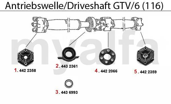 Alfa Romeo Alfetta GTV4 / GTV6 (116) Arbre embrayage