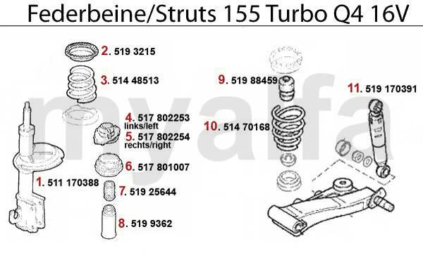 Alfa Romeo 155 amortisseurs Turbo Q4 16V