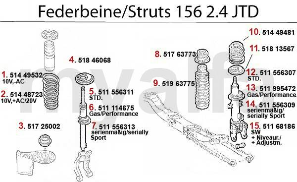 Alfa Romeo 156 amortisseurs 2.4 JTD 10/20V