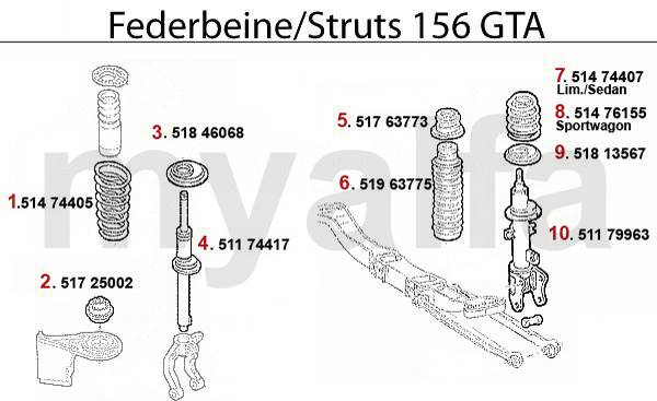 Alfa Romeo 156 amortisseurs 3.2 V6 24V/GTA