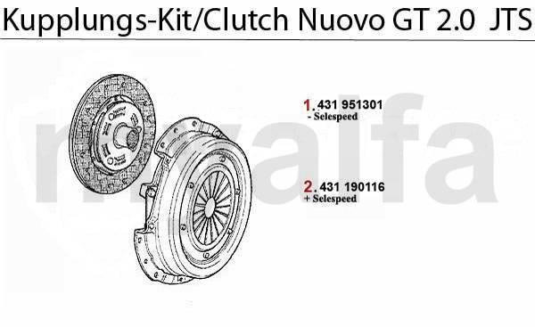 Alfa Romeo Nuovo GT Embrayage Kit embrayage 2.0 JTS