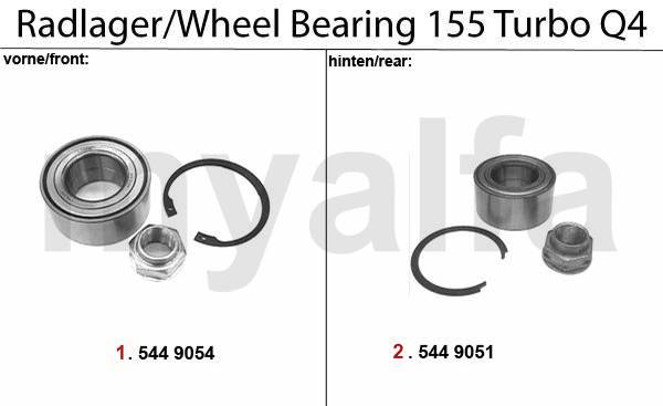 Alfa Romeo 155 roulements de roue Turbo Q4 16V