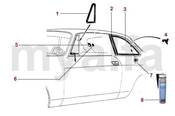 Alfa Romeo GT Bertone Vitrage Joints vitres latérales