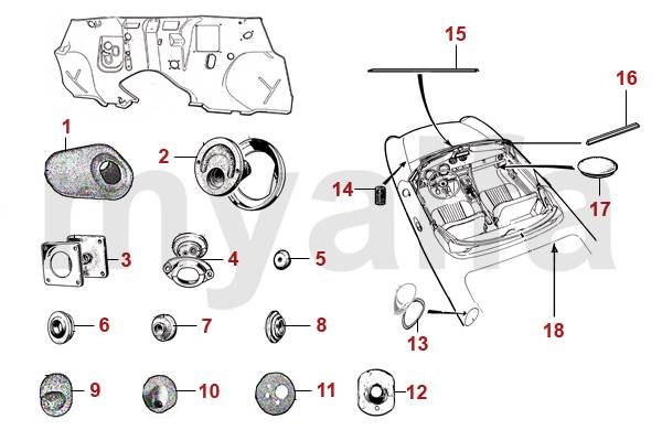 Alfa Romeo Spider (105/115) Joints Divers joints et passe-fils