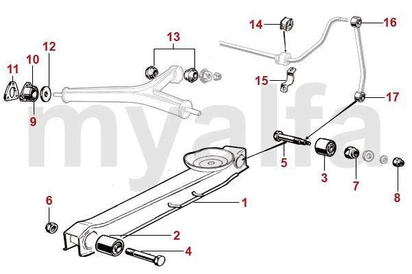 Alfa Romeo ALFA ROMEO SPIDER (105/115) REAR TRAILING ARMS