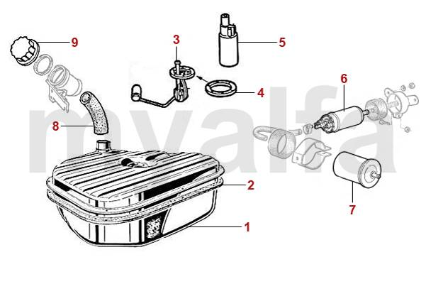 Alfa Romeo Spider (105/115) Versions Injection Réservoir d