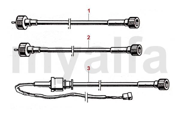 Alfa Romeo SPIDER (105/115) Speedometer Cable, Tachometer
