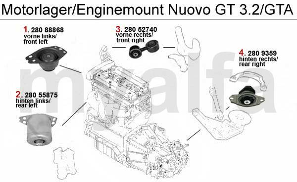 Alfa Romeo Nuovo GT Supports moteur & pièces moteur & Alfa