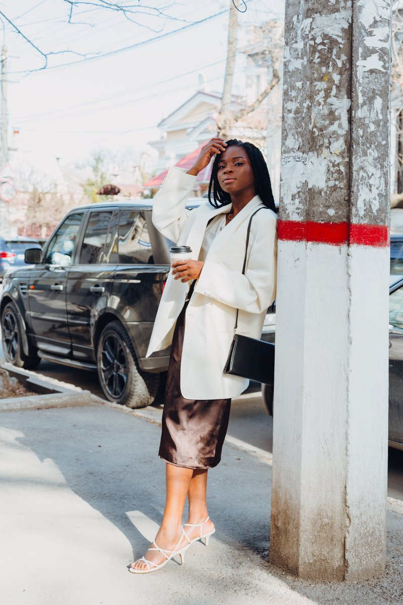White blazer with brown skirt