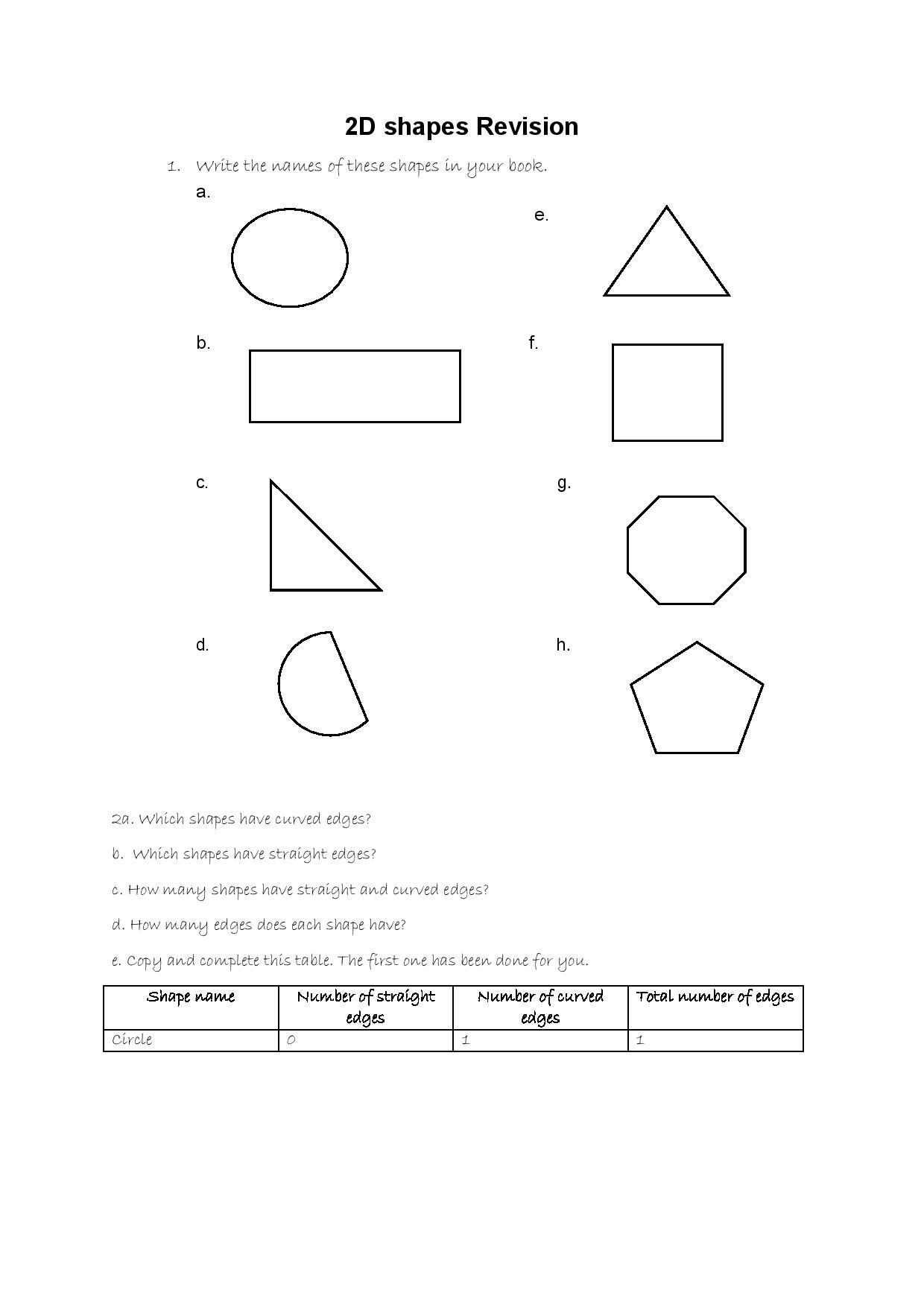 Grade 4 Maths Shapes Activity Victory House Senior Primary