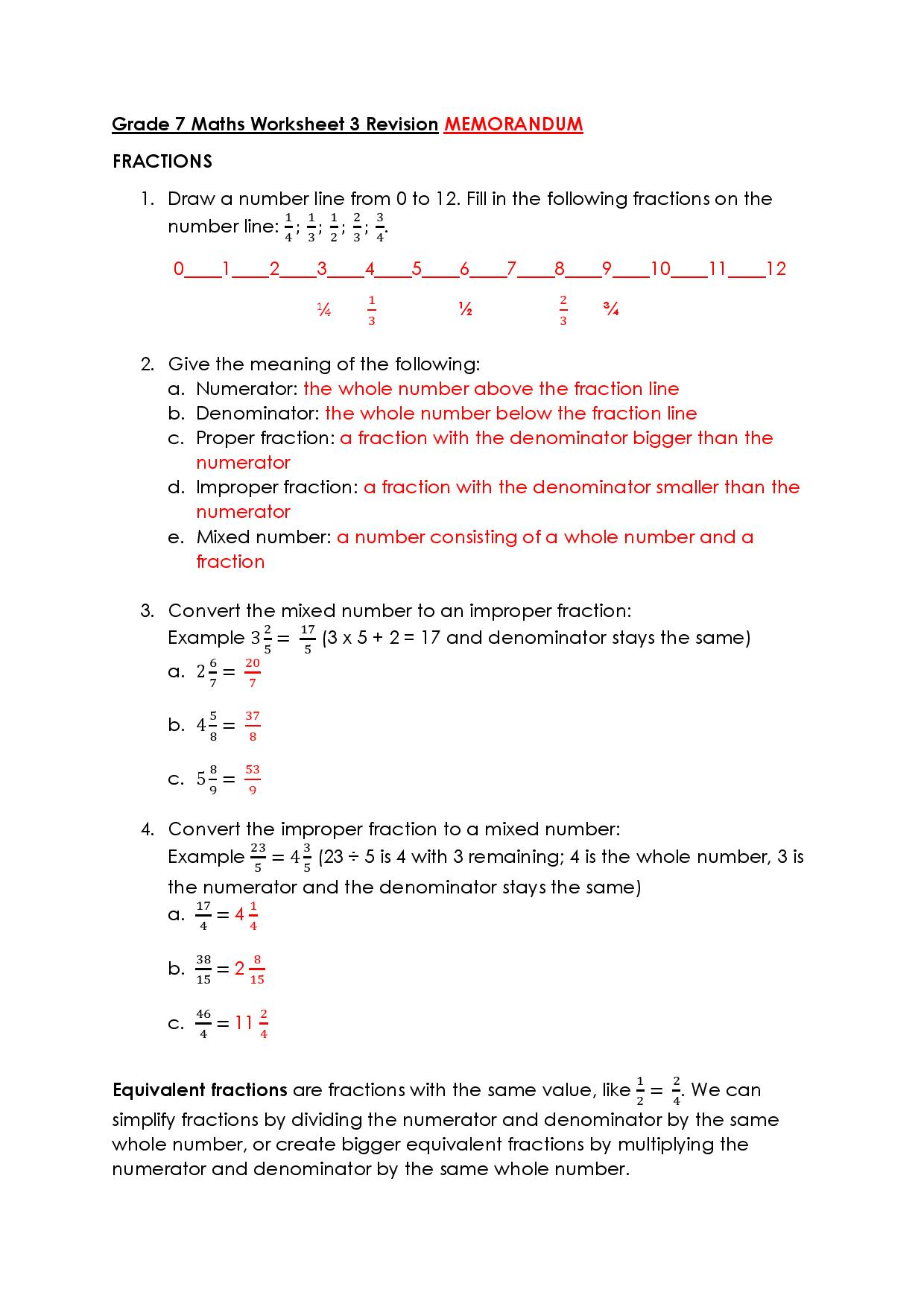 hight resolution of Grade 7 Maths Worksheet – Victory House Senior Primary