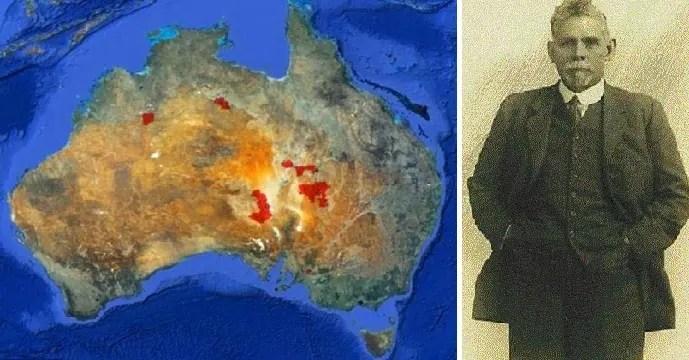 البقع البنية في الأرض التي امتلكها السير الأسترالي سيدني كيدمان، تشير بالخارطة الى امتدادها في 4 ولايات