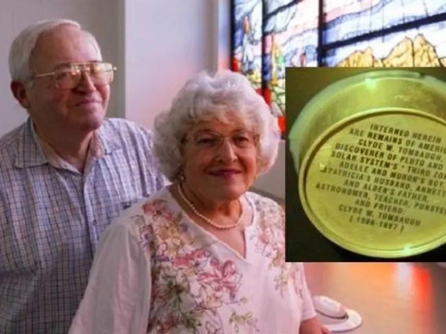 آنيت وآلدن تومبو، ابنا مكتشف بلوتو، والعلبة المحتوية على حفنة من رماد جثته المحروقة