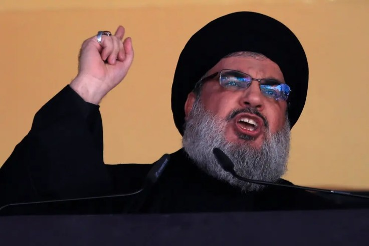 Hassan Nasrallah, leader of Lebanese group Hezbollah, makes a televised speech. (File photo: AP)