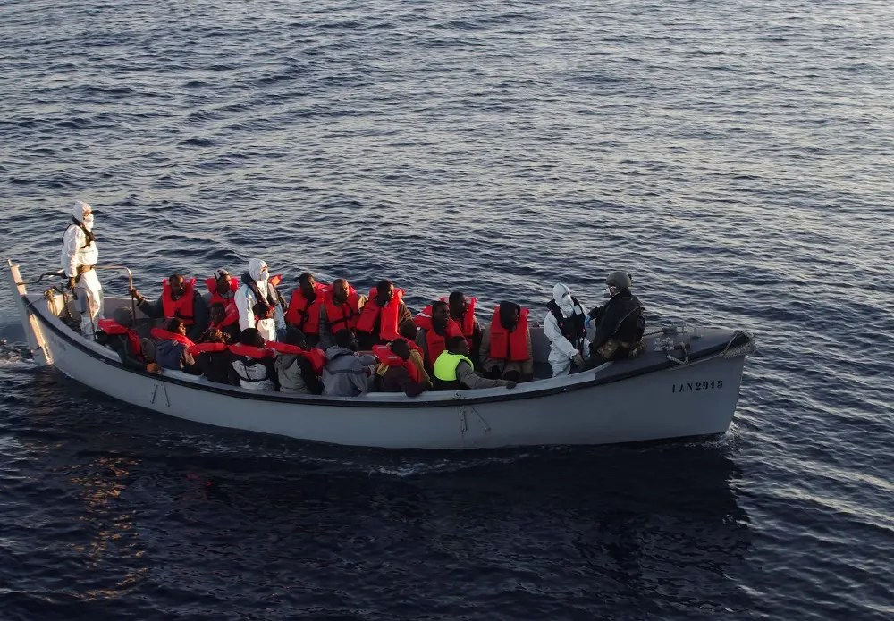 The Italian Navy has already rescued thousands of migrants whose vessels sank while they attempted to cross the Mediterranean Sea from Libya (AFP)