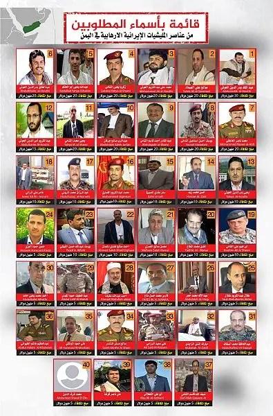 قائمة المطلوبين - الأربعين - اليمن