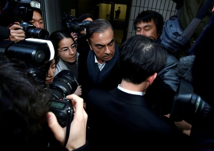 Former Nissan Motor Chairman Carlos Ghosn leaves his lawyer Junichiro Hironaka's office in Tokyo. (Reuters)