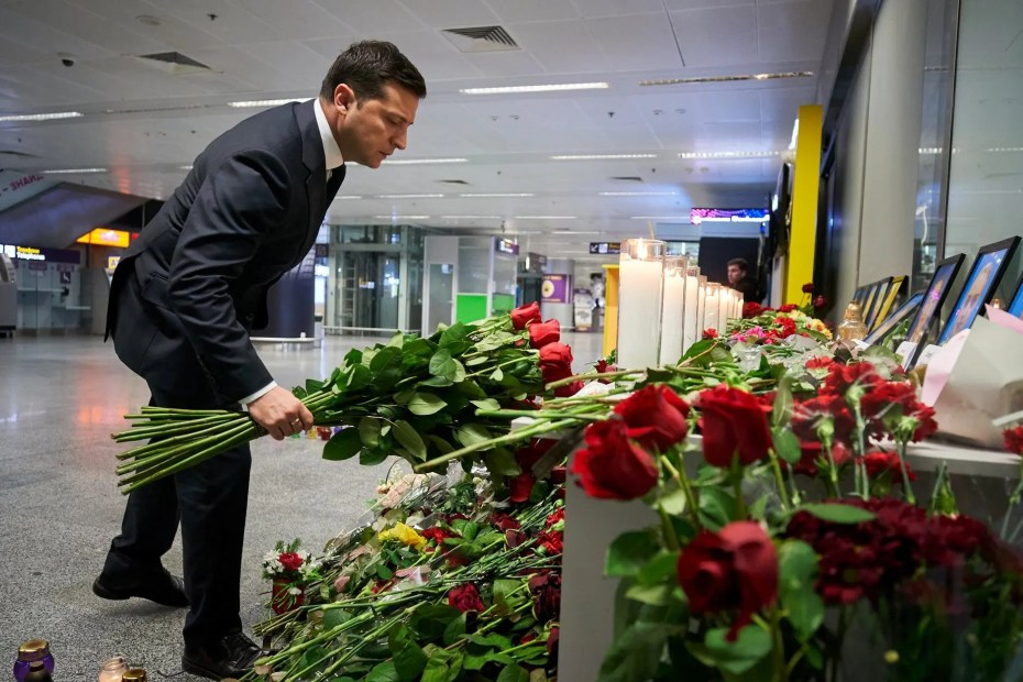 Ukrainian President Volodymyr Zelenskiy lays flowers to commemorate victims of the Ukraine International Airlines Boeing 737-800 plane crash, at a memorial in Boryspil International airport outside Kiev, Ukraine, on January 9, 2020. (Reuters)