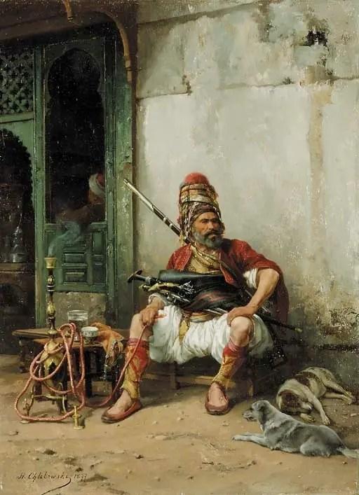 Painting by Polish painter Shlibowski depicting a member of the Bashi-Bazouki while smoking