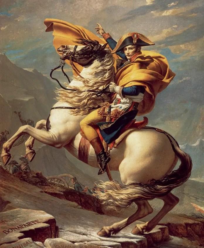 A portrait of Napoleon Bonaparte riding his horse
