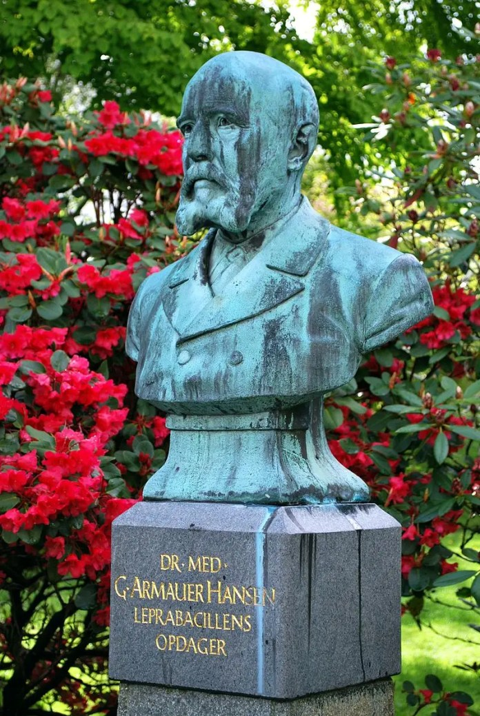 Bust of scientist Gerhard Armauer Hansen