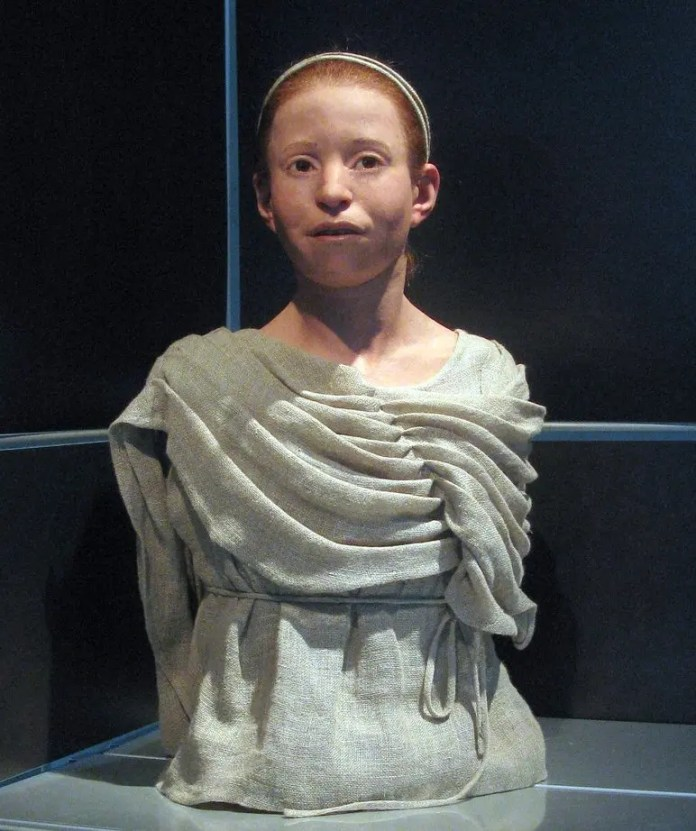 Newly remodeled bust from the skull of a 11-year-old girl named Martyz who was said to have died from the plague of Athenia some 2,500 years ago