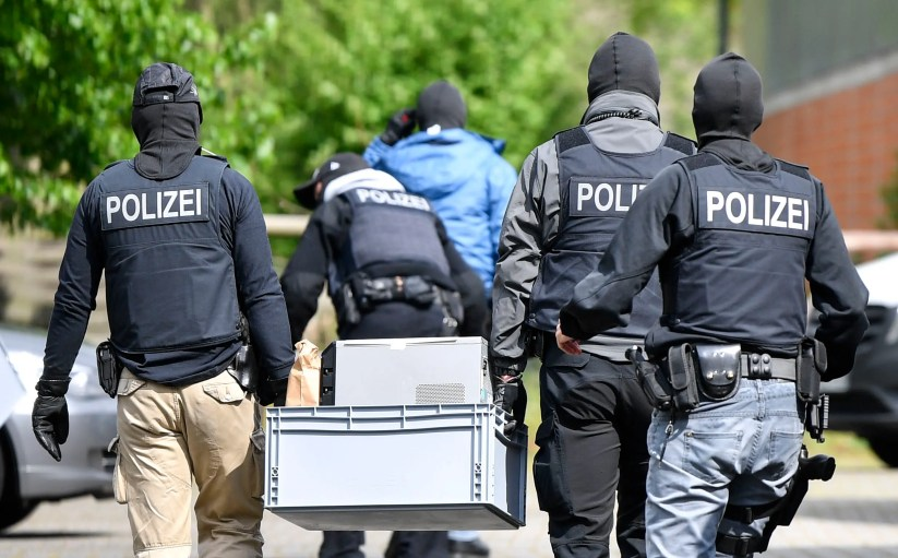 Special police investigates the Hezbollah linked Imam Mahdi center in Muenster, western Germany, Thursday, April 30, 2020. (AP)