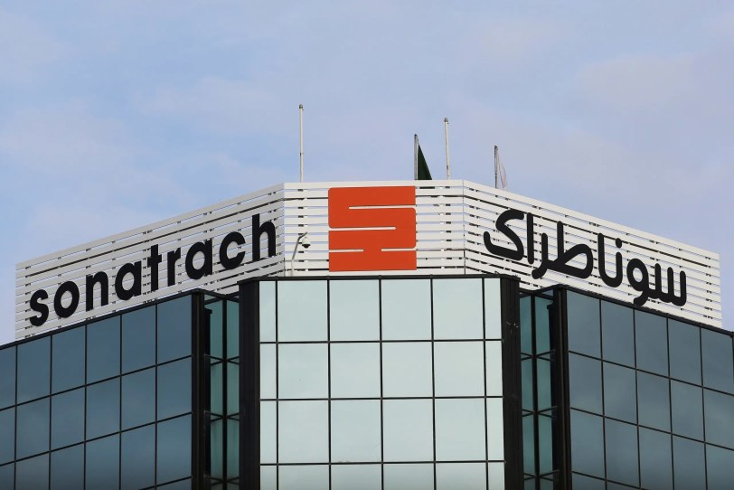 The logo of the state energy company Sonatrach is pictured at the headquarters in Algiers, Algeria November 20, 2019. (Reuters)