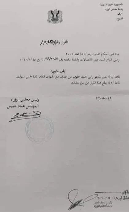 قرار آخر يمنع رامي مخلوف من التعاقد مع النظام لمدة 5 سنوات