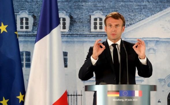 French President Emmanuel Macron at Meseberg castle. (Reuters)