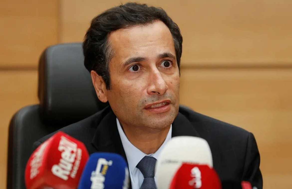 Moroccan Minister of Finance Mohamed Benchaaboun speaks during a news conference in Rabat, Morocco October 22, 2019. (Reuters)
