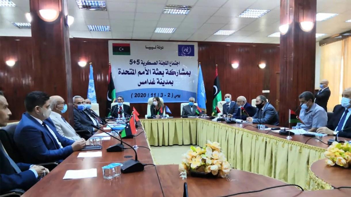 من اجتماع غدامس بين أعضاء اللجنة العسكرية الليبية المشتركة (فرانس برس)