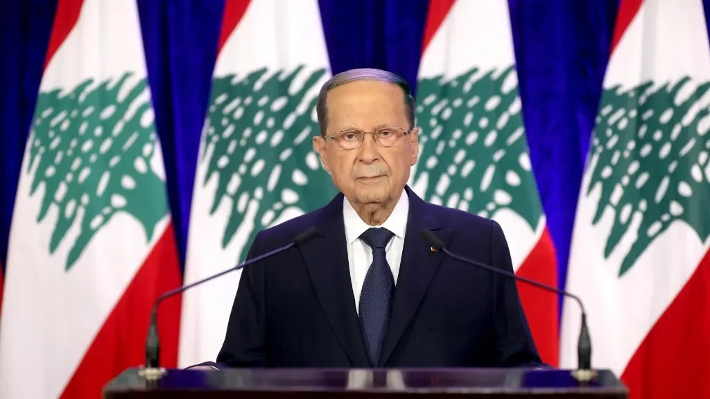 A handout picture provided by the Lebanese photo agency Dalati and Nohra on November 21, 2020, shows President Michel Aoun delivering a televised address. (File photo: AFP)