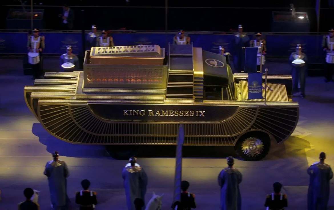 The mummy of King Ramesses IX is transported in a convoy from the Egyptian Museum in Tahrir to the National Museum of Egyptian Civilization in Fustat, in Cairo, Egypt April 3, 2021. (Reuters)